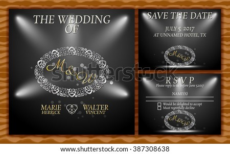 Luxury Gold and silver Wedding Invitation card with Save the date card and RSVP card on wood pattern background