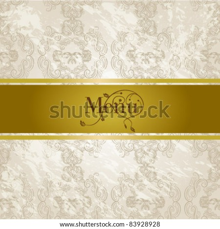 luxury gold menu in damask background - stock vector