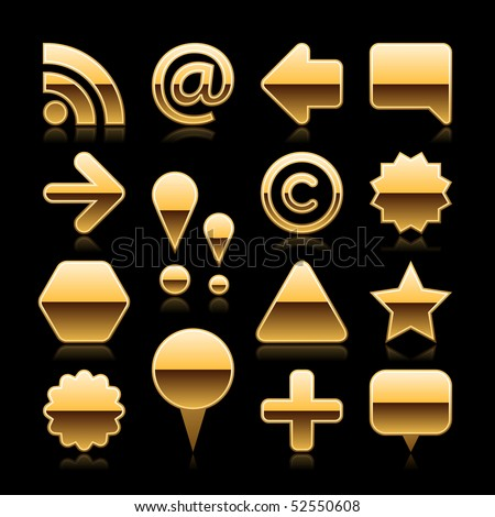 Luxury gold metal set web button with reflectiom on black - stock vector
