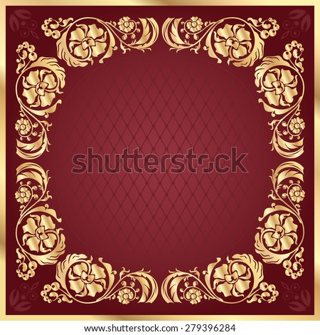 Luxury gold pattern frame on claret background. Square - stock vector