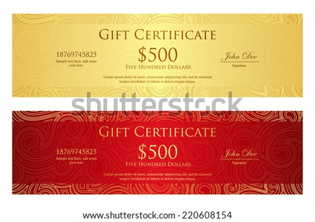 Luxury golden and red gift certificate with swirl pattern - stock vector