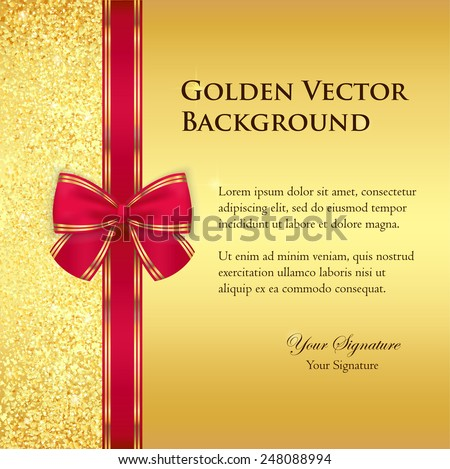 Luxury golden background with glitters and red ribbon - stock vector