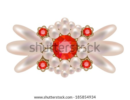 Luxury golden brooch with precious stones vector