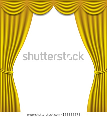 Luxury golden curtain on white background vector