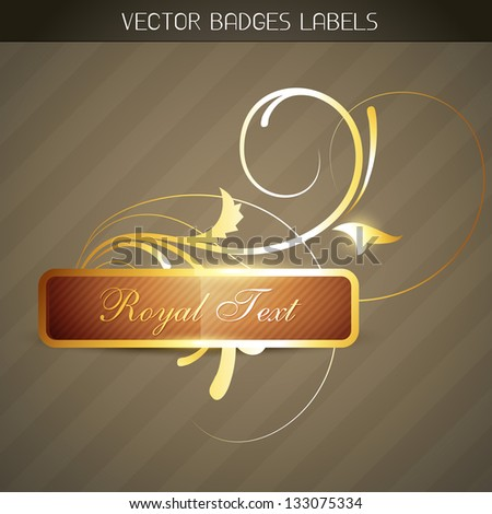 luxury golden label design - stock vector