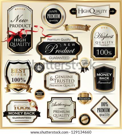 Luxury golden labels - stock vector