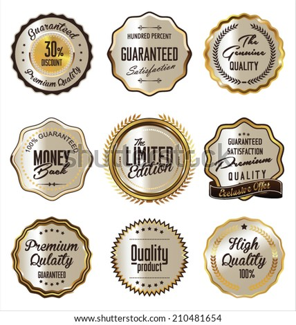 Luxury golden premium quality labels collection - stock vector