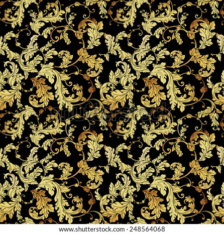 Luxury golden seamless pattern. Floral vector background - stock vector