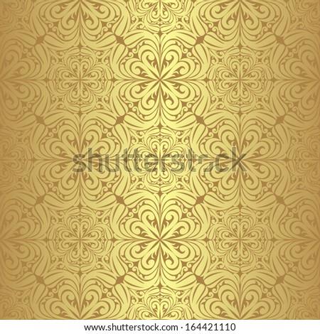 Luxury golden seamless Wallpaper. - stock vector