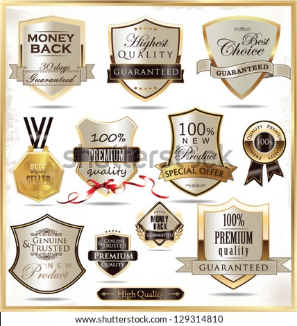 Luxury golden shields - stock vector