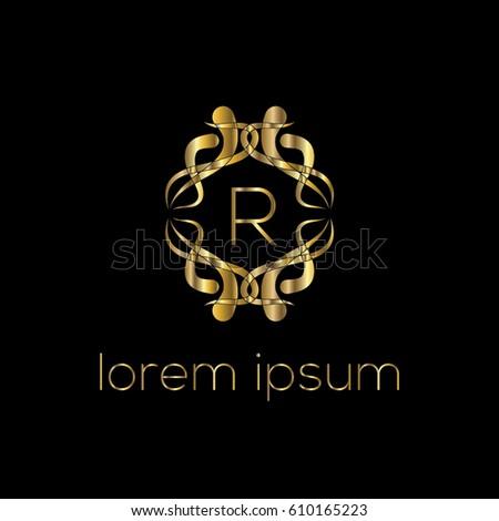 Luxury golden vector logo design letter R  Stylish border. Letter Modern R Swirl Stock Images  Royalty Free Images   Vectors
