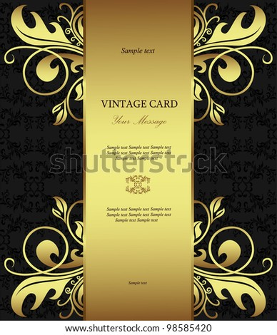 Luxury golden vintage styled card