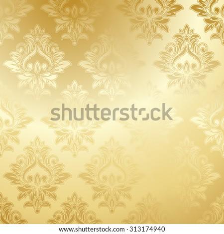 Luxury Golden Wallpaper Vintage Floral Pattern Vector Background