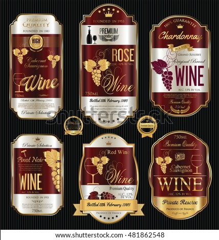 Luxury golden wine labels collection