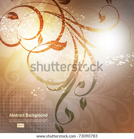 Luxury greeting card. Vector. Floral ornament with flower. - stock vector