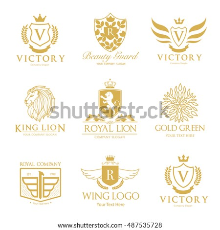 Luxury hotel logo collection, victory logo, crest logo set
