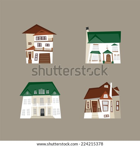 luxury house vector illustration icon set - stock vector