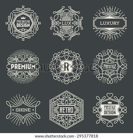 Luxury Insignias Retro Design Logotypes Template Set. Line Art Vector Vintage Style Elements. Elegant Geometric Shiny Frames. - stock vector