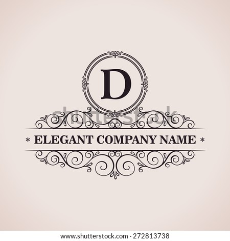 Luxury logo. Calligraphic pattern elegant decor elements. Vintage vector ornament D - stock vector