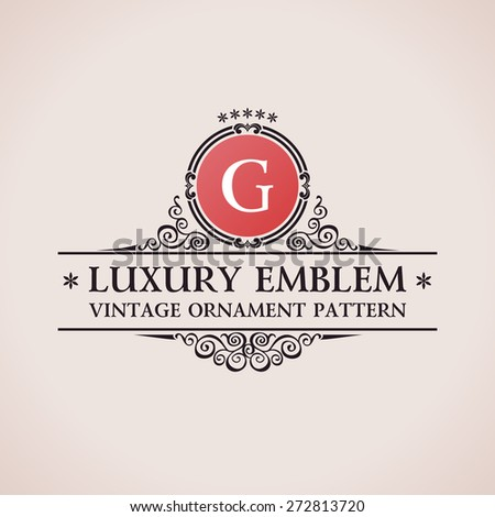 Luxury logo. Calligraphic pattern elegant decor elements. Vintage vector ornament G - stock vector