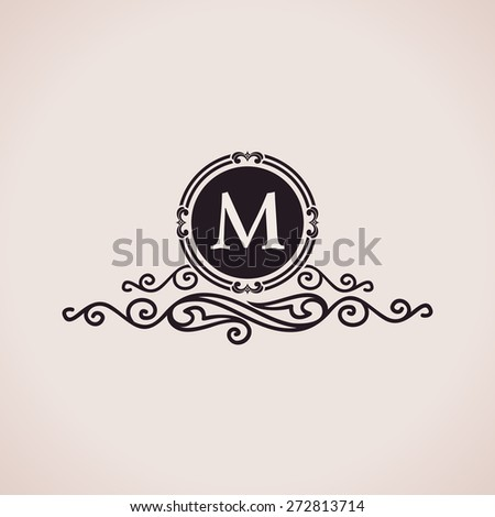 Luxury logo. Calligraphic pattern elegant decor elements. Vintage vector ornament M - stock vector