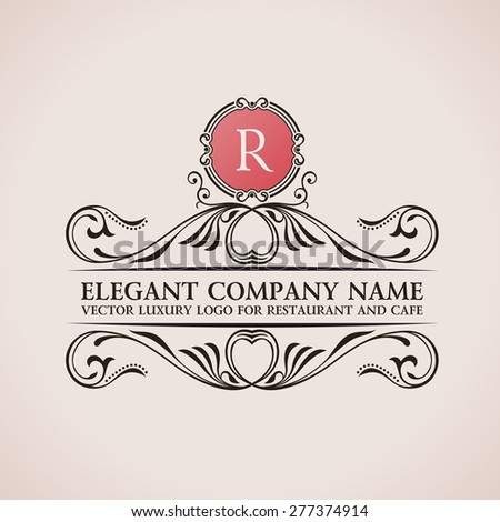 Luxury logo. Calligraphic pattern elegant decor elements. Vintage vector ornament R - stock vector