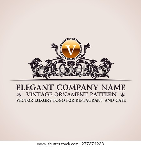 Luxury logo. Calligraphic pattern elegant decor elements. Vintage vector ornament V - stock vector