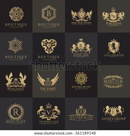 Luxury logo set,Best selected collection,Hotel logo,crest logo set,boutique logo,Vector logo Template - stock vector