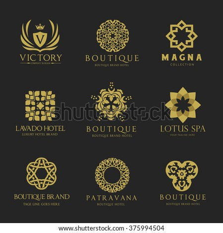 Luxury logo set. Boutique hotel logo,hotel logo set,fashion logo,Calligraphic pattern elegant decor elements. Vintage vector ornament ,Signs and Symbols. vector logo template - stock vector