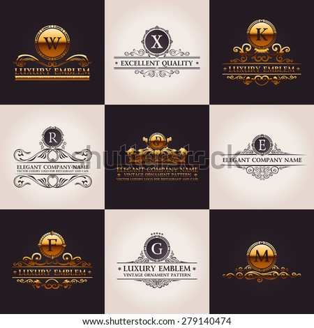 Luxury logo set. Calligraphic pattern elegant decor elements. Vintage vector gold ornament Signs and Symbols - stock vector