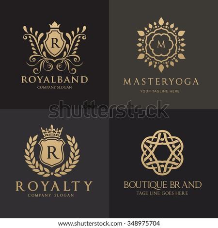 Luxury Logo Set,Crest Logo Collection,Vector Logo Template - stock vector
