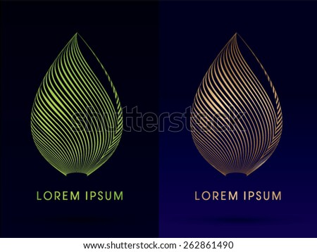Luxury Lotus, Abstract Architecture, Construction, Leaf shape ,designed using green and gold line,logo, symbol, icon, graphic, vector. - stock vector