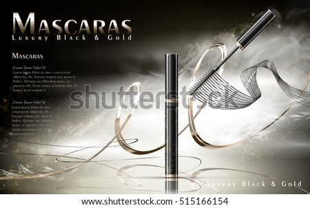 Luxury mascaras ads, black and golden package with streamline, foggy background, 3d illustration