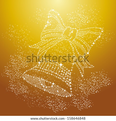 Luxury Merry Christmas bell shape, season elements and stars background. EPS10 vector file organized in layers for easy editing. - stock vector