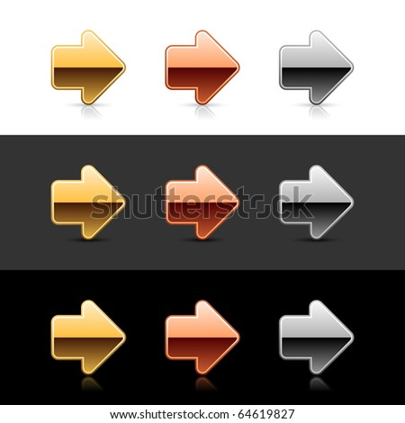 Luxury metal arrow sign web 2.0 buttons with shadow and reflection on white, gray, and black
