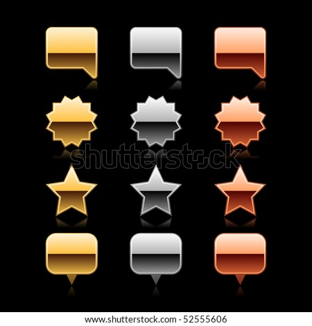 Luxury metal web button collection icon with reflection on black - stock vector