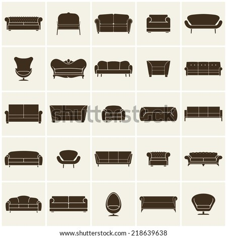 Luxury modern sofa and couch icons set. Vintage furniture collection - stock vector