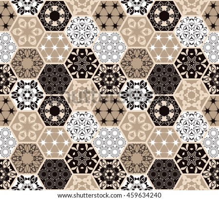 Luxury oriental hexagonal ceramic tiles. Colorful floral  seamless pattern. Patchwork background with rich flower ornament and mandala. Portuguese moroccan motif.  - stock vector