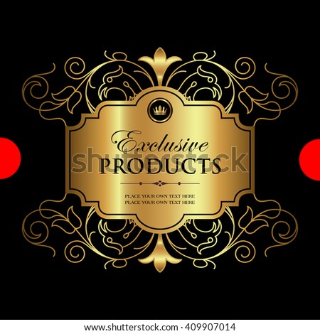 Luxury ornamental gold label - stock vector