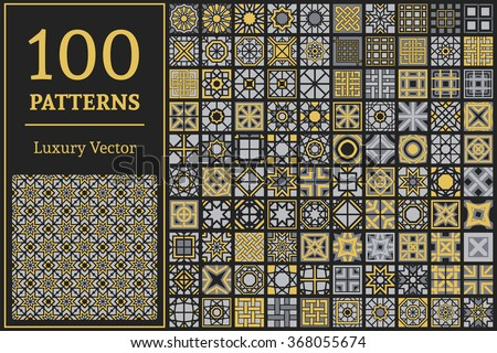 Luxury patterns with geometric ornaments. Vector set of Arabic seamless textures - stock vector