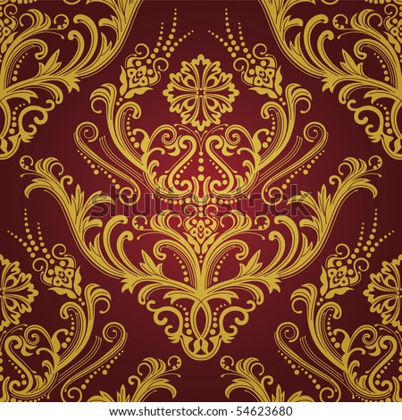 Luxury red & gold floral damask wallpaper - stock vector