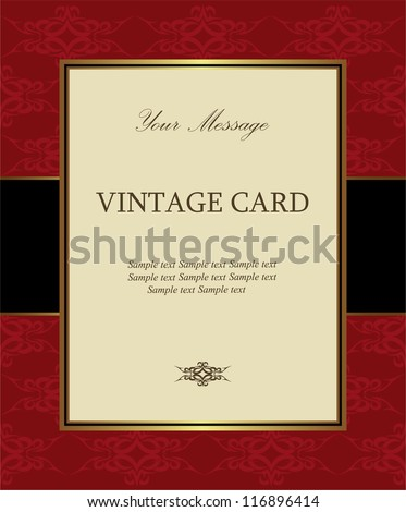 Luxury red vintage card - stock vector