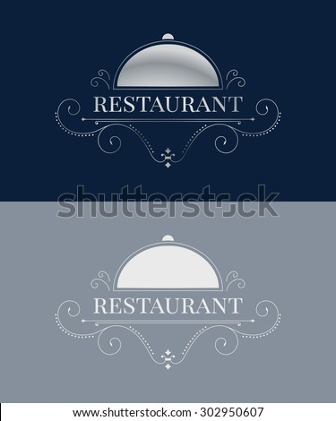 Luxury restaurant logo template. Elegant calligraphic ornament pattern. Vector illustration for your restaurant business.