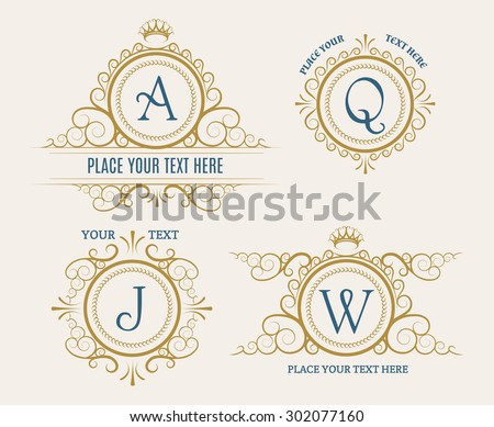 Luxury Retro Logo set. Flourishes elegant ornament elements. For Business or Personal identity. Isolated on light background. Only free font used. - stock vector