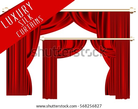 Luxury scarlet red silk curtains. Vector Illustration. Transparent. silhouette.