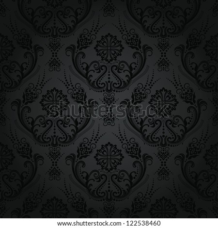 Luxury seamless black floral damask vintage wallpaper pattern - stock vector