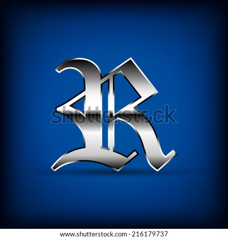 "luxury silver old english alphabet "" R "" letter number (vector)"