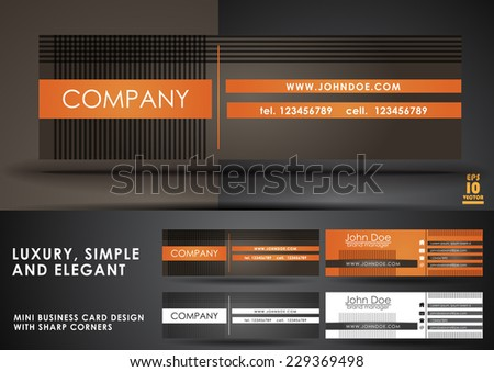Luxury, simple and elegant mini business card - stock vector