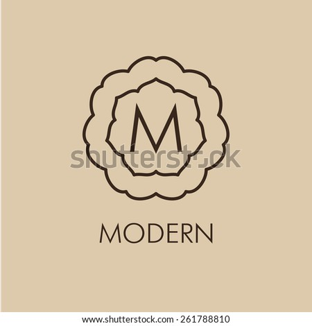 Luxury, simple  and elegant monochrome  Vector set of abstract frames and logo templates in line style - graphic design elements - stock vector