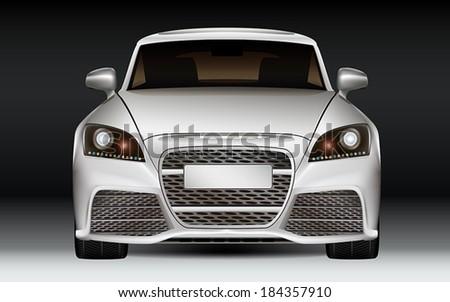 Luxury sports car, front view. Modern design. Dark Background. - stock vector